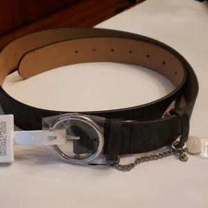 Michael Kors Nwt Silver Buckle Blk Logo Belt XL